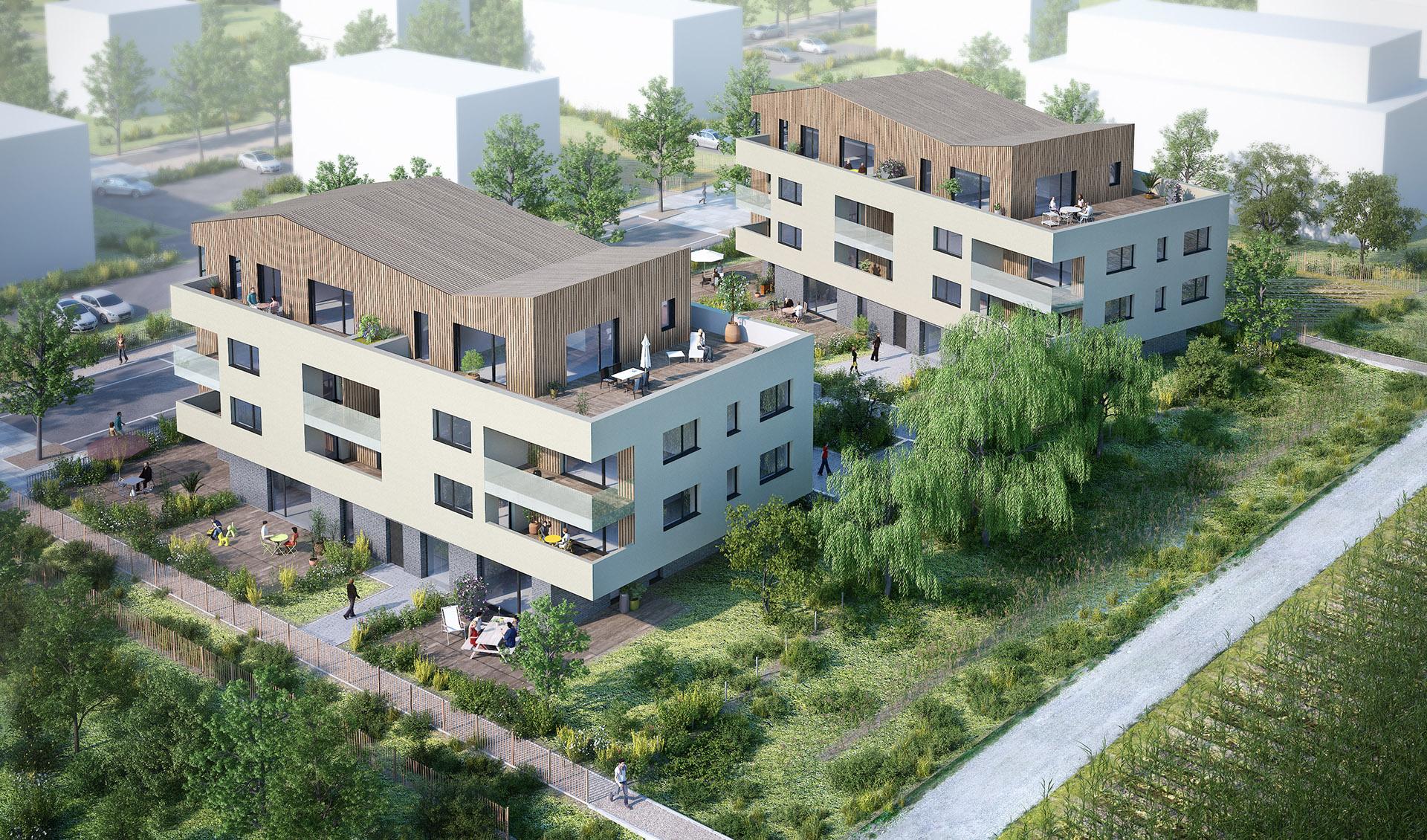 vue aérienne logement mittelhausbergen